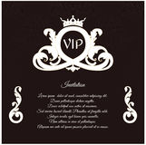 An elegant invitation for vip, with a delicate ornament and crown, is made in a Victorian style. Royalty Free Stock Photography
