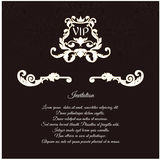 An elegant invitation for vip, with foliage and crown, is made in a Victorian style. Stock Photo