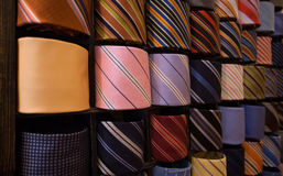 Elegant italian neckties in a tie rack Stock Photography