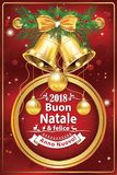 Elegant Italian New Year greeting card for companies. Italian winter holiday greeting card for companies. Merry Christmas and Happy New Year Italian language! Royalty Free Stock Photo
