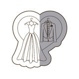 elegant jacket and dress married with heart Royalty Free Stock Photo