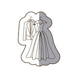 elegant jacket and dress married icon Royalty Free Stock Images
