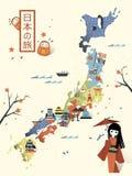 Elegant Japan travel map Stock Photo