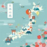 Elegant japan travel map. Flat design landmark and traditional symbol with cherry blossom frame, Japan travel in Japanese on the top left Royalty Free Stock Image