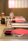 Elegant Japanese / Chinese restaurant, close up with blurred background Stock Photos