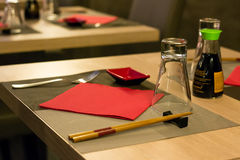 Elegant Japanese / Chinese restaurant, close up with blurred background Royalty Free Stock Photography