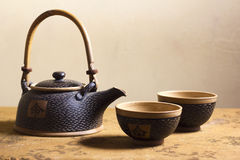 Elegant Japanese Clay Tea Service Royalty Free Stock Images