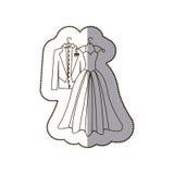 elegant jasje en kleding gehuwd pictogram Royalty-vrije Stock Afbeeldingen