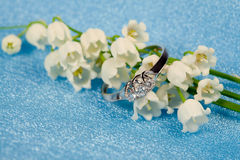 Elegant jewelry and lily of the valley. Elegant jewelry ring with brilliant and spring natural flowers Royalty Free Stock Photo
