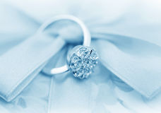 Elegant jewelry ring with brilliants stock image