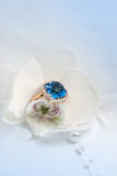 Elegant jewelry ring in flower Royalty Free Stock Images