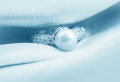 Elegant jewelry ring with pearl Royalty Free Stock Images
