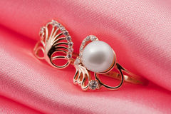 Elegant jewelry ring with pearl and brilliants Royalty Free Stock Photo
