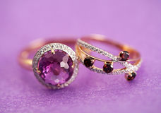Elegant jewelry rings with gem stone Stock Images