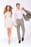 Elegant joyful couple walking together Royalty Free Stock Photography