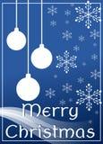 Elegant julhälsningkort i blått Fotografering för Bildbyråer