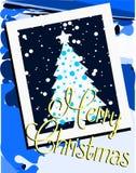 Elegant julhälsningkort i blått Royaltyfri Fotografi