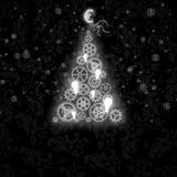 Elegant julkort med en symbolisk tree Arkivbilder