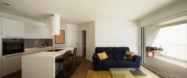 Elegant kök och vardagsrum i modern lägenhet arkivbild