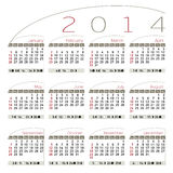 Elegant kalender 2014 Royaltyfria Foton