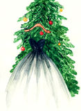 Elegant klänning som hänger på julgranen för flygillustration för näbb dekorativ bild dess paper stycksvalavattenfärg Royaltyfria Foton