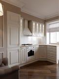 Elegant klassiek keuken binnenlands ontwerp Royalty-vrije Stock Afbeelding