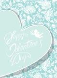 Elegant kort med den dekorativa florish modellen Lyckliga valentin D Royaltyfri Foto