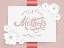 Elegant kort med lycklig bokstäver för moderdag och blom- beståndsdelar Elegant modern handskriven kalligrafi Med blommor stock illustrationer