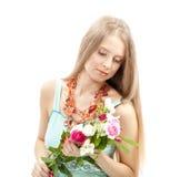 elegant kvinna för härlig klänning Fotografering för Bildbyråer