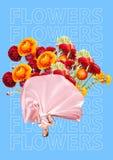 Elegant kvinna som sjalen som fylls med blommor, den ovanliga buketten eller gåvabegrepp modern design Samtida konstcollage arkivfoton