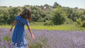 Elegant kvinna som trycker på försiktigt blomma lavander lager videofilmer