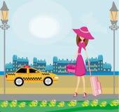 Elegant kvinna som väntar på en taxi stock illustrationer