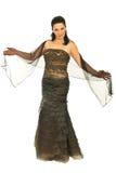 elegant lång modell för härlig klänning Arkivfoto