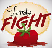 Elegant Label Announcing the Beginning of Tomato Fight, Vector Illustration. Poster with a splashed tomato close to an elegant label promoting the fun of a royalty free illustration