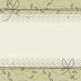 Elegant lace frame with decorative plants on light green backgro Stock Photography