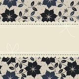Elegant lace frame with flowers, leaves and stars Stock Photo