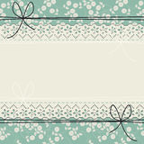 Elegant lace frame with white roses on green background Stock Photography