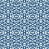 Elegant lace pattern with blue lines on white Stock Photography