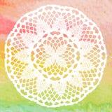 Elegant lacy doily. Crochet mandala. Royalty Free Stock Photo