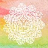 Elegant lacy doily. Crochet mandala. Royalty Free Stock Image