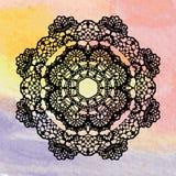 Elegant lacy doily. Crochet mandala. Royalty Free Stock Photography