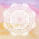 Elegant lacy doily. Crochet mandala. Royalty Free Stock Photos