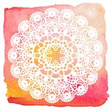 Elegant lacy doily. Crochet mandala. Royalty Free Stock Photo