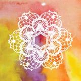 Elegant lacy doily. Crochet mandala. Vector template. Invitation card. May be used for digital scrapbooking Stock Photo