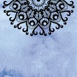 Elegant lacy doily on watercolor background. Royalty Free Stock Photos