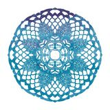 Elegant lacy watercolor doily. Crochet mandala. Stock Photos