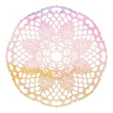 Elegant lacy watercolor doily. Crochet mandala. Stock Image