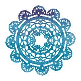 Elegant lacy watercolor doily. Crochet mandala. Royalty Free Stock Image