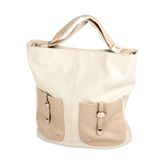 Elegant ladies beige handbag isolated Stock Photo