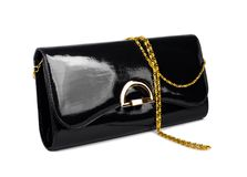 Elegant ladies black handbag isolated Stock Photo